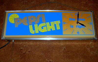 Rare Vintage Pepsi Light Lighted Clock Sign