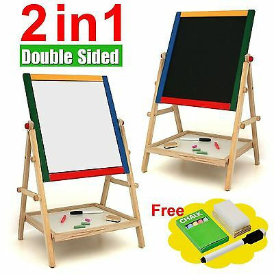 New Children Colour Wooden 2 In 1 Blackboard Easel Stand Kids Learning
