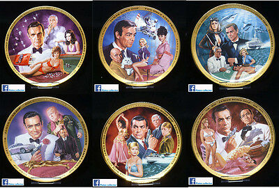 Serie complète de 6x assiettes de collection James Bond 007 Franklin Mint plate