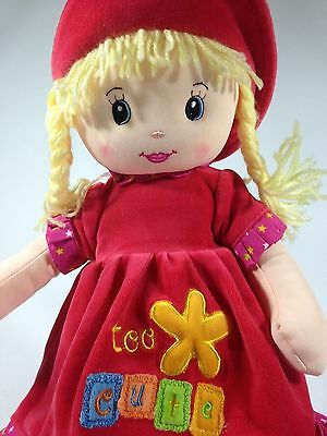 Too Cute Soft Plush Girl Doll Yellow Hair Braids Strawberry Red Outfit Dress 17""