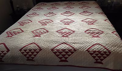 "Antique Early 1900's Handmade Red & White Basket QUILT 76"" x 76"""