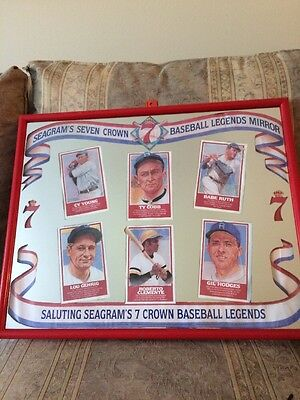 Vintage Seagrams 7 Crown Bar Mirror Baseball Legends 1992 20x16 Ruth Cobb N More