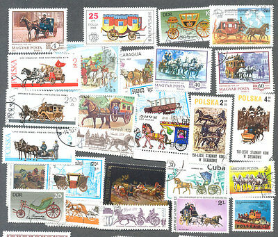 Carriages-Horses collection 100 different-Thematic collection