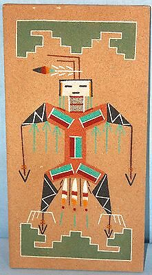 Vintage Native American Sandpainting signed Lester Johnson ~ Thunder ~ Healing