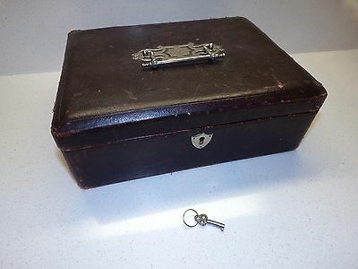 "ANTIQUE LEATHER wood SEWING BOX W SILVERTONE HANDLE w/ ITEMS  & KEY! 10"" 119"