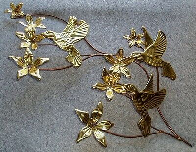 Vintage Home Interiors Brass Hummingbirds and Leaves Wall Hanging Homco