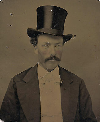 OLD VINTAGE ANTIQUE TINTYPE PHOTO of YOUNG MAN w/ TOP HAT