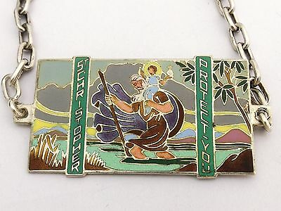 Sterling Silver and Enamel Dashboard Plaque Badge  1938 St Christopher Art Deco