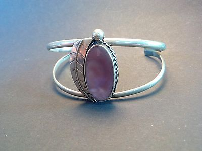 vintage mexico silver cuff bracelet with mother of pearl centre
