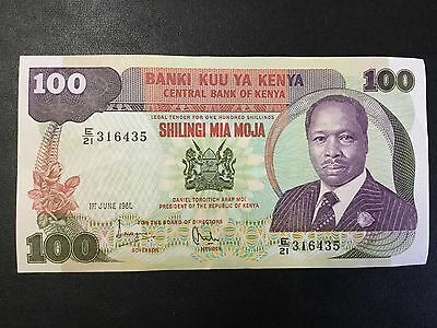 1981 Kenya Paper Money - 100 Shillings Banknote !