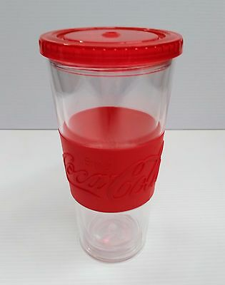Coca-Cola 20oz Clear / Red Tumbler Cup w/ Lid - BRAND NEW
