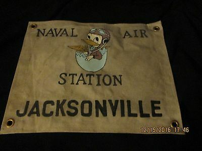 Wwii Us Naval Air Station Jacksonville Disney Donald Duck Wall Barracks Flag