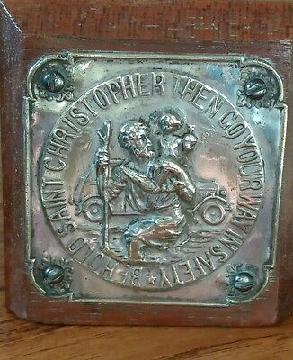 St. Christopher Mounted Silver Tone Badge Mascot Car Or Elsewhere