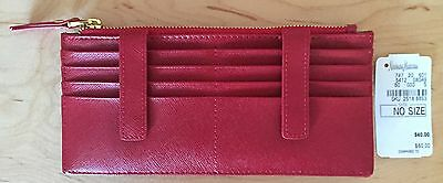 Nwt Women's Neiman Marcus Red Leather Card Case Keeper/Holder Organizer