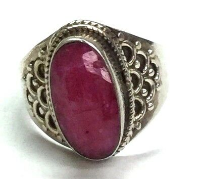 Vintage Sterling Silver Oval Pink Quartz Cable Twist Halo Dotted Cocktail Ring