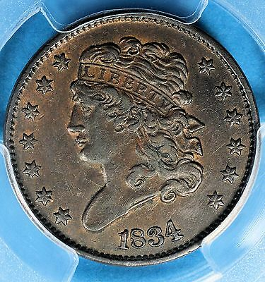 1834 Classic Head Half Cent PCGS AU53- Nice Patina, Eye Appeal