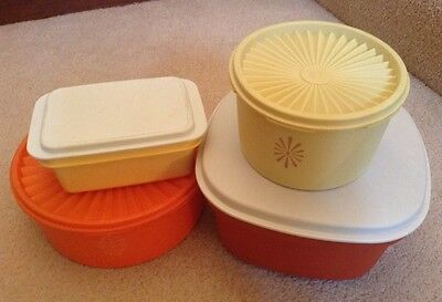 Joblot 4 X 70S Vintage Retro Tupperware Lidded Containers Kitchen Multi Coloured
