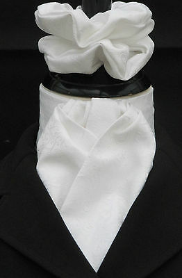 Ready Tied White Paisley Rich Brocade Dressage Riding Stock & Scrunchie