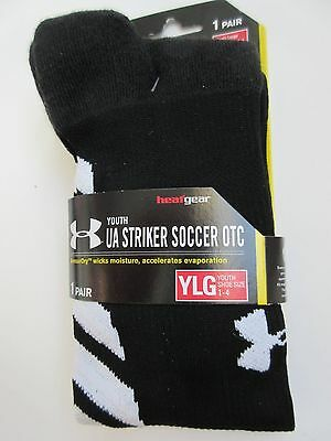 Under Armour Striker Soccer OTC Youth Large (size 1-4) 1 Pair Black - NWT