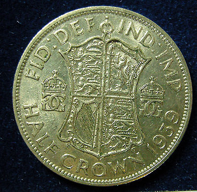 1939 George VI Half-crown silver coin - lovely coin - BB:132