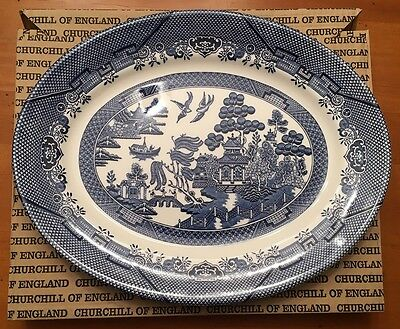 "Large 14 1/2"" Oval Platter Blue Willow Churchill Made in Staffordshire Eng NIB"