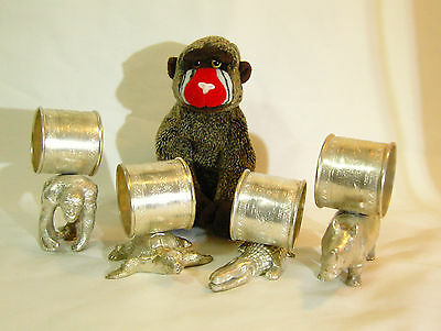 Vintage Unusual Heavy Silver Plated Napkin Rings with Animals Holding the Rings