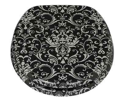 New Round Front Close Damask Bathroom Toilet Seat with chrome plated hinges