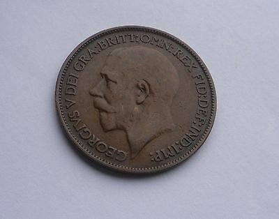 George V,  1921 Halfpenny, Excellent Condition.