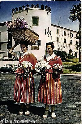 Madeira, Flower Girls by The Pier, coloured postcard, posted 1964