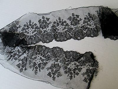 "Antique French Chantilly Wide Black Lace Trim/Edging. 47"" x 4 1/2"""