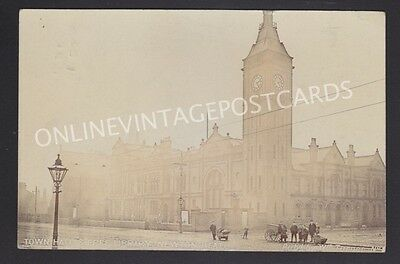 Manchester Suburbs Town Hall & Free Library Newton Heath Real Photo