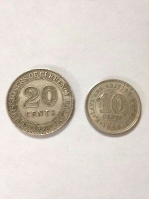 Malaya 20 Cents  and 10 Cents Coins-1948 & 1953