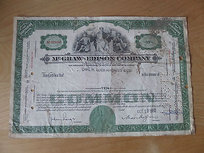 McGraw-Edison Co stock certificate 1960