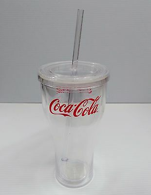 Coca-Cola 20oz Clear Tumbler Cup w/ Lid - BRAND NEW