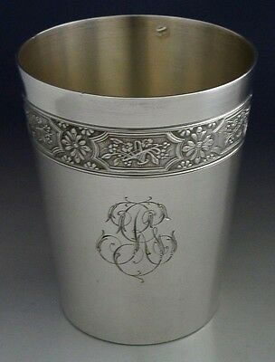 BEAUTIFUL LARGE FRENCH STERLING SILVER BEAKER CUP c1900-1910 ANTIQUE 89g