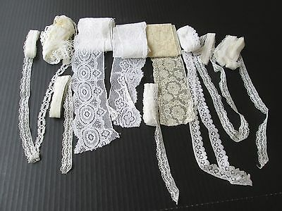 Nice Lot Vintage Mixed Lace Trim..antique Doll Clothing..white & Ecru