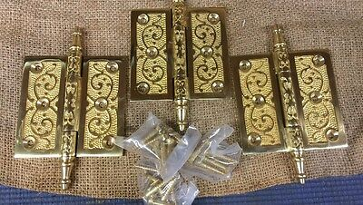 Vintage Set Of 3 Brass Steeple Top Door Hinges  3 1/2 X 3 1/2