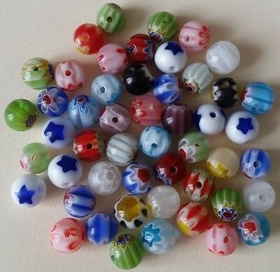 50 MILLEFIORI GLASS BEADS 6mm round ~ Assorted Colours