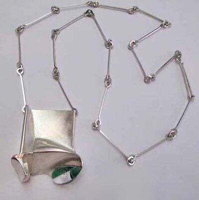 Bjorn Weckstrom 1973 Monolith Necklace Lapponia Finland Sterling Silver Acrylic
