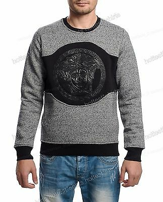 Men Versace Thick Medusa Shirt T-Shirt Long Sleeve Gray Color Size M Fit Like S