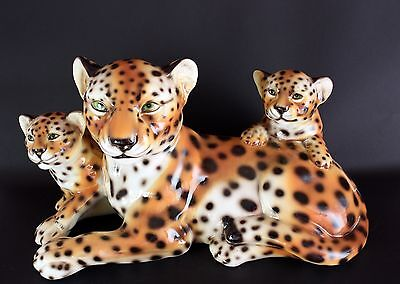 Large Italian Porcelain Ceramiche Boxer Cheetah and Cubs