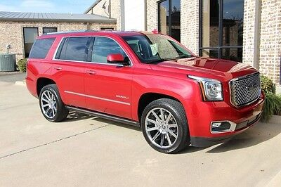 2015 GMC Yukon Denali Sport Utility 4-Door AWD Crystal Red Denali Premium Package Open Road Package Quad Bucket Chrome 22s