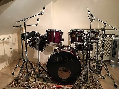 Rare Classic Premier Signia Maple Drum Kit.6 Piece,wine Red Lacquer & Hardware..