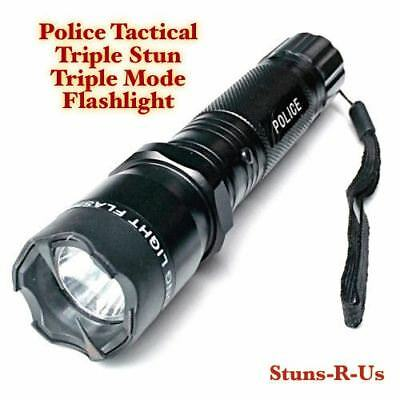 Metal POLICE Stun Gun 500 Million Volt Rechargeable LED Flashlight + Disable Pin