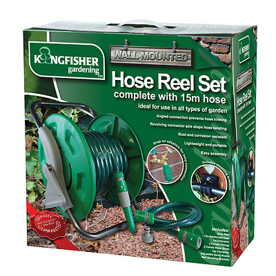 15m Portable Wall Garden Hose Pipe Reel Set Freestanding Winder With Fittings
