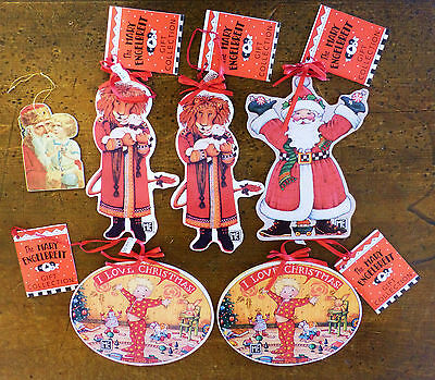 Vintage 1980s MARY ENGELBREIT Santa Double Sided PAPER Wood CHRISTMAS Ornaments