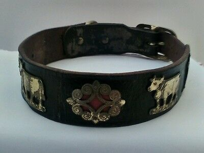 """Wonderful Vintage Dog Collar, Leather with brass medallions, 21"""" long"""