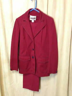 Womens Vintage 70s Lasso 2 Piece Western Suit Red Size L Pants 28-32 poly