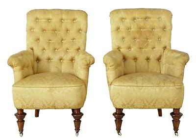 Pair Of 19Th Century Victorian Buttonback Armchairs