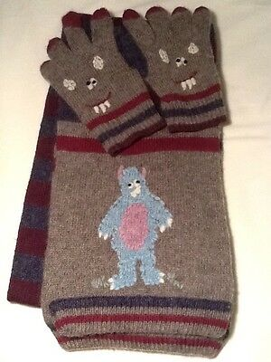 Monsoon Boys Woolly Scarf & Gloves Set, Age 3-6, Monster